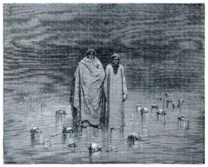 Dante e Viriglio nella Tolomea: incisione di Gustav Doré