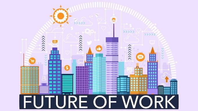 Future of Work: il logo con dei grattacieli stilizzati